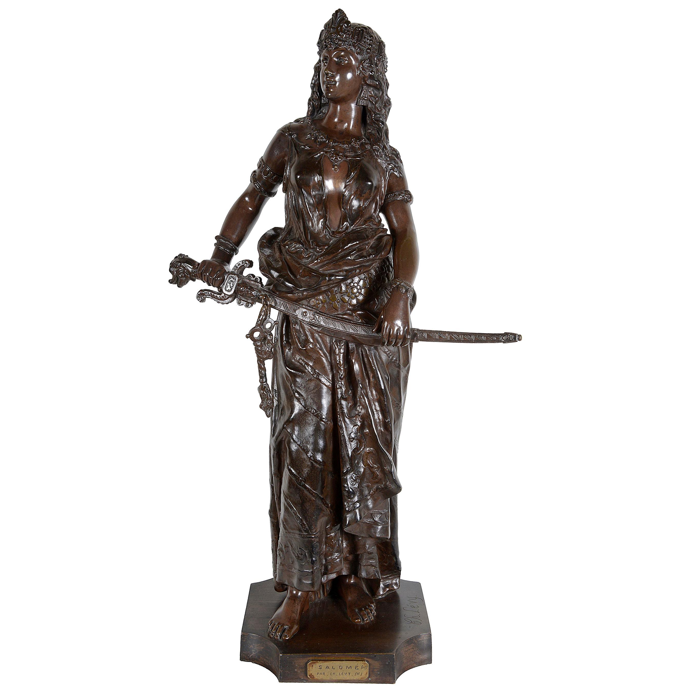 19th Century Orientalist Arab Girl Bronze Statue, Signed C.Levy