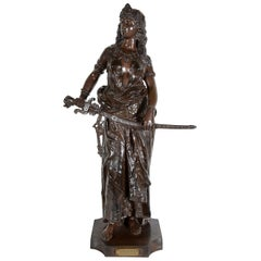 19th Century Orientalist Arab Girl Bronze Statue, Signed C.Levy