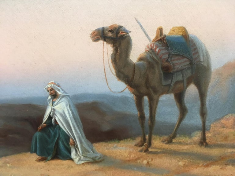 Oiled 19th Century Orientalist Oil on Canvas Painting For Sale