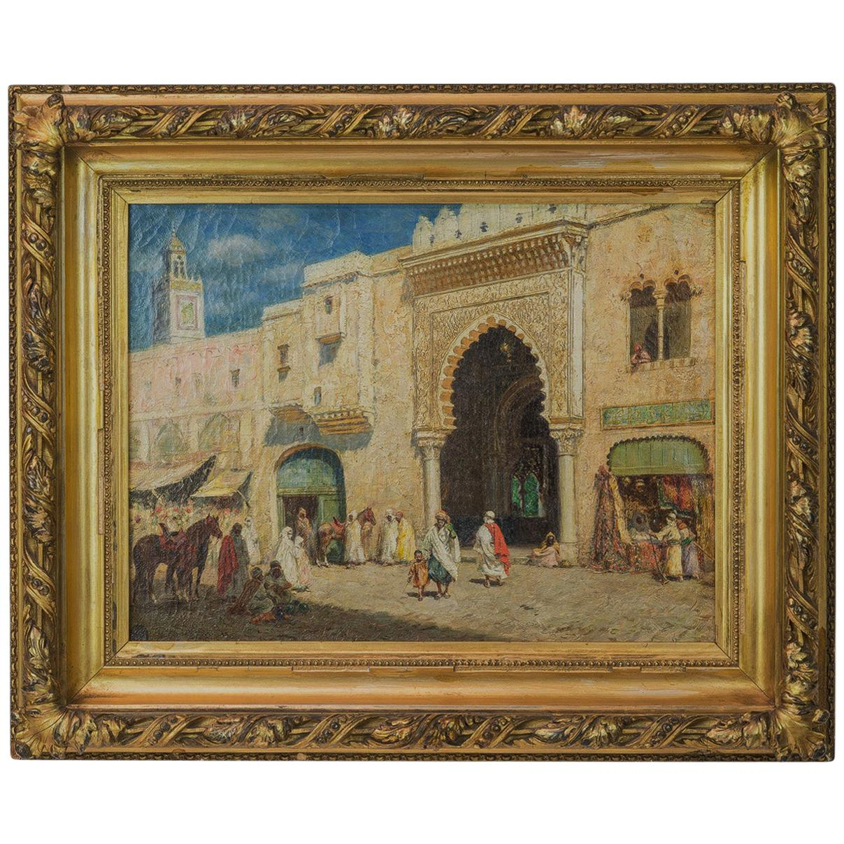 19th Century French Orientalist Painting of a Market by Addison Millar