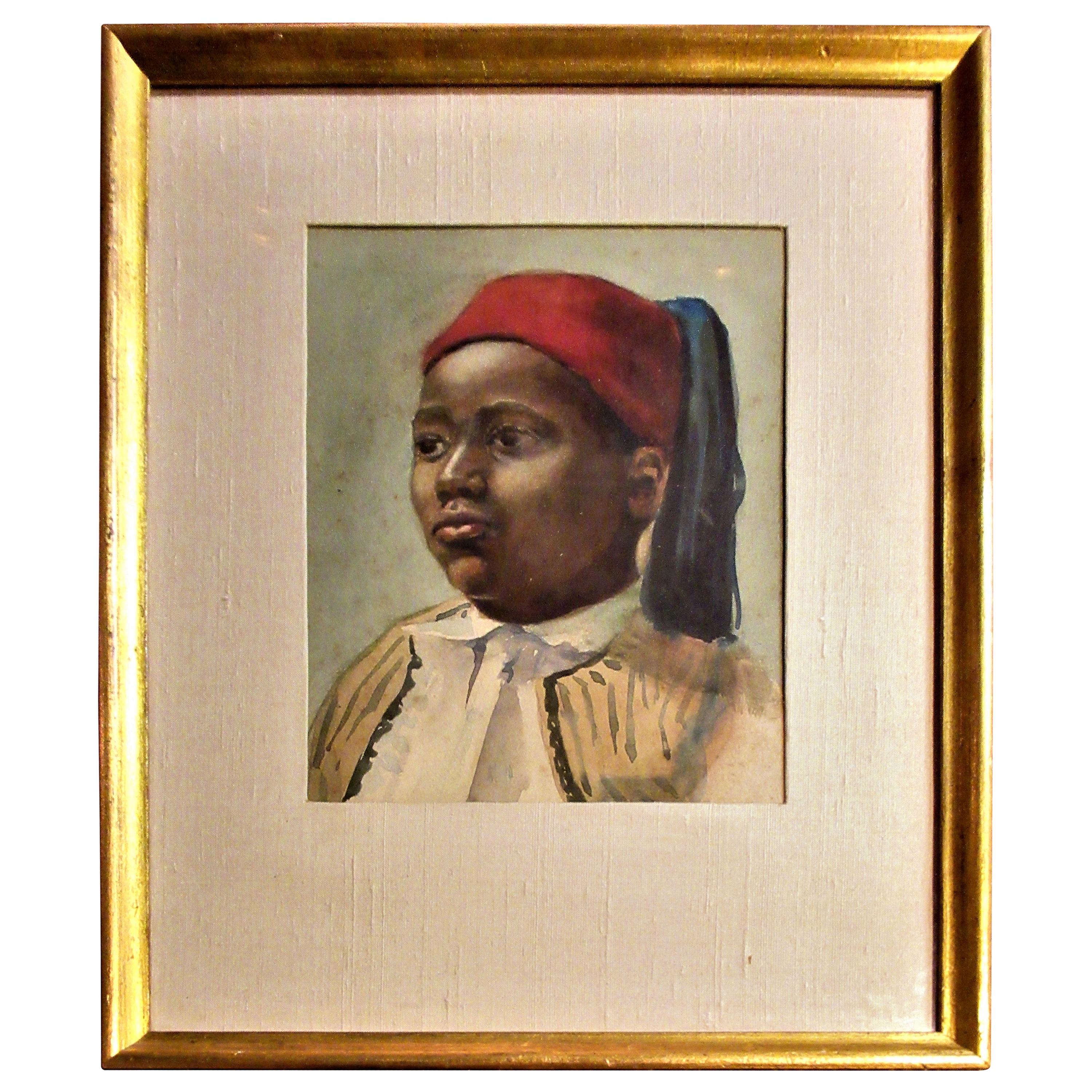 19th Century Orientalist Painting of a Young Boy