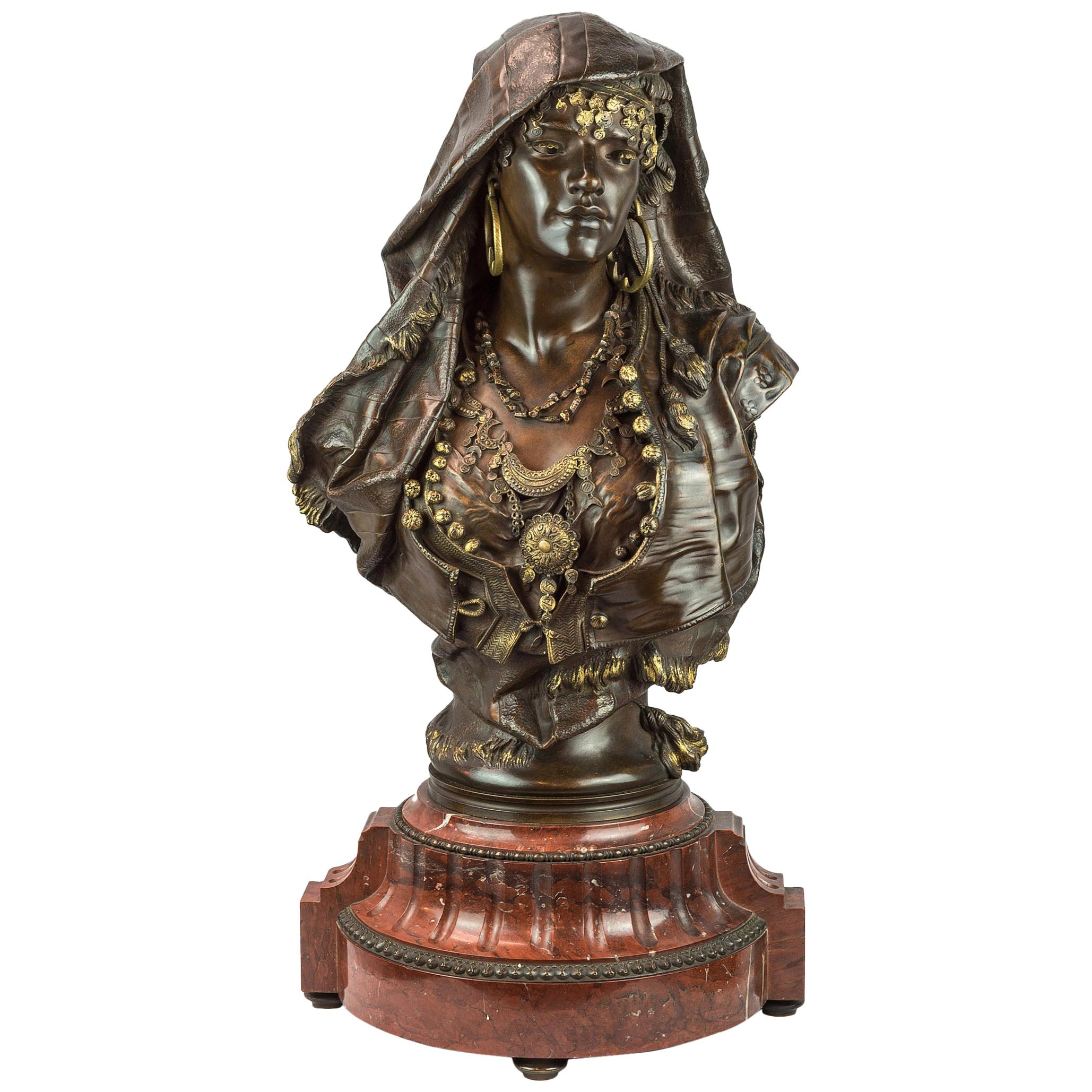 19th Century Orientalist Patinated and Gilt Bronze Bust by Henri-Honoré Plé