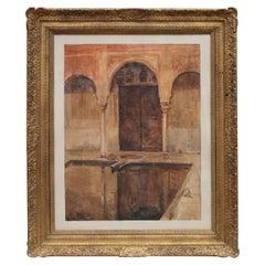 19th Century Orientalist Spanish Architecture Watercolor