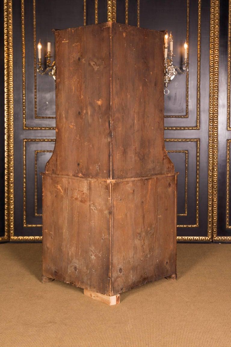 19th Century Original Biedermeier Corner Vitrine Cherry Veneer For Sale 6