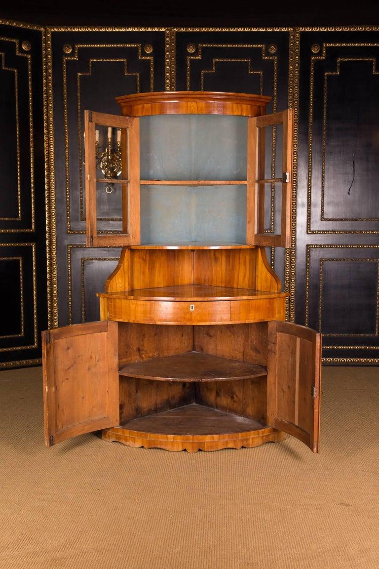 19th Century Original Biedermeier Corner Vitrine Cherry Veneer For Sale 4