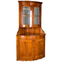 19th Century Original Biedermeier Corner Vitrine Cherry Veneer