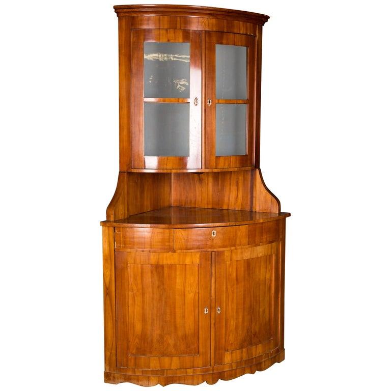 19th Century Original Biedermeier Corner Vitrine Cherry Veneer For Sale