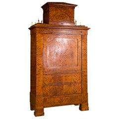 19th Century Original Biedermeier Cupboard Birchwood Veneer