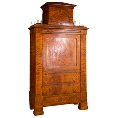 19th Century Original Biedermeier Cupboard Birchwood Veneer