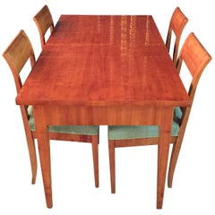 19th Century Original Biedermeier Dining Room /Dining Table with 4 Chairs Cherry