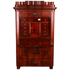 19th Century, Original Biedermeier Secretaire from circa 1830, Cuba Mahogany