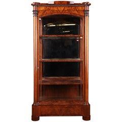 19th Century Original Biedermeier Three-Sided Glazed Vitrine Mahogany Veneer