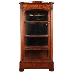 19th Century Original Biedermeier Three-Sided Glazed Vitrine Mahogany Veneer