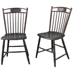 19th Century Original Black Painted Birdcage Windsor Chairs, Pair