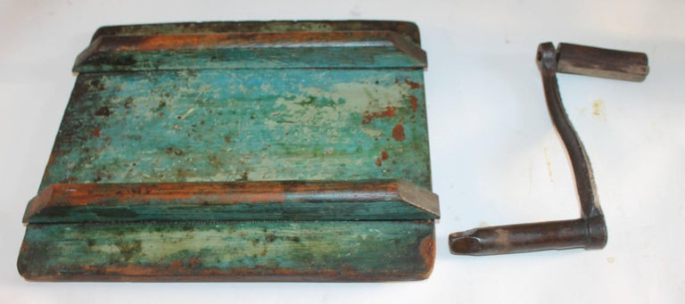 19th Century Original Blue Painted Butter Churn from New England For Sale 5