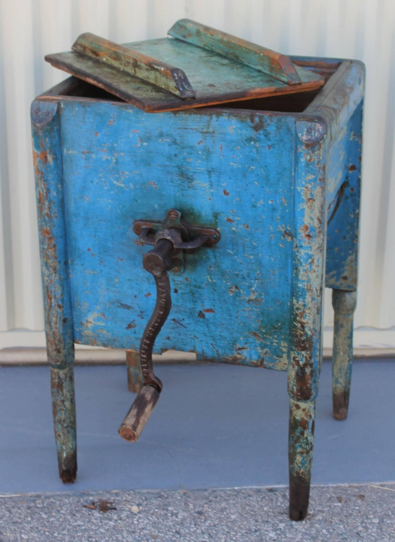 Country 19th Century Original Blue Painted Butter Churn from New England For Sale