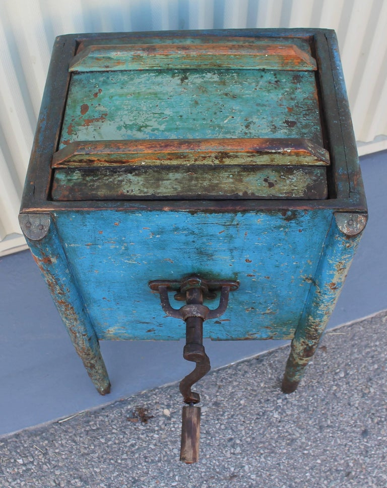 American 19th Century Original Blue Painted Butter Churn from New England For Sale