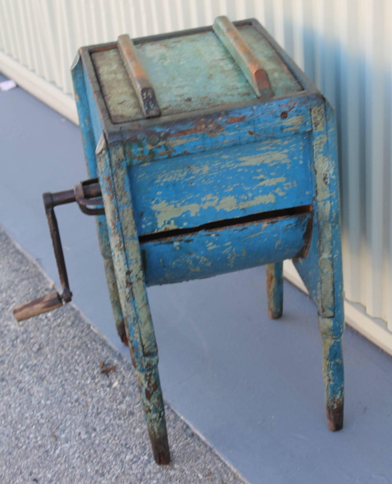 Hand-Crafted 19th Century Original Blue Painted Butter Churn from New England For Sale