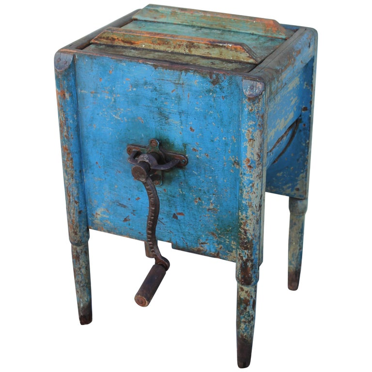 19th Century Original Blue Painted Butter Churn from New England For Sale