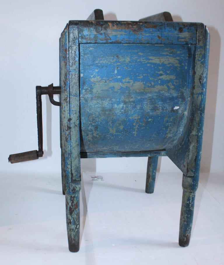 Country 19th Century Original Blue Painted Side Table / Churn For Sale