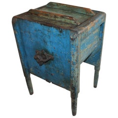 19th Century Original Blue Painted Side Table / Churn