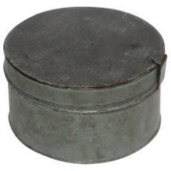 19th Century Original Blue Painted Tin Pantry Box