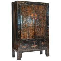"19th Century Original Decorated lacquer cabinet from ""Shanxi"", China"