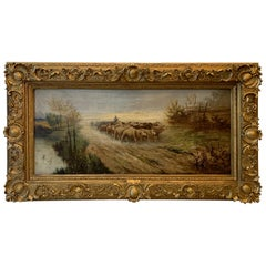 19th Century Original European Oil on Canvas of Sheep on Path, Signed by Linhart