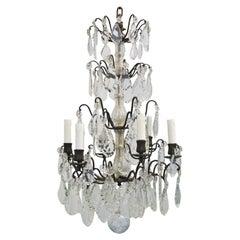 19th Century Original French Louis XVI Style Rock Crystal Six-Light Chandelier
