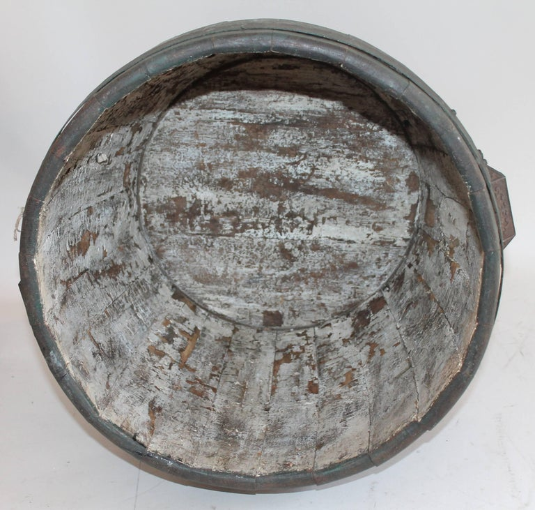 19th Century Original Green Painted Farm Barrel with Iron Handles For Sale 2