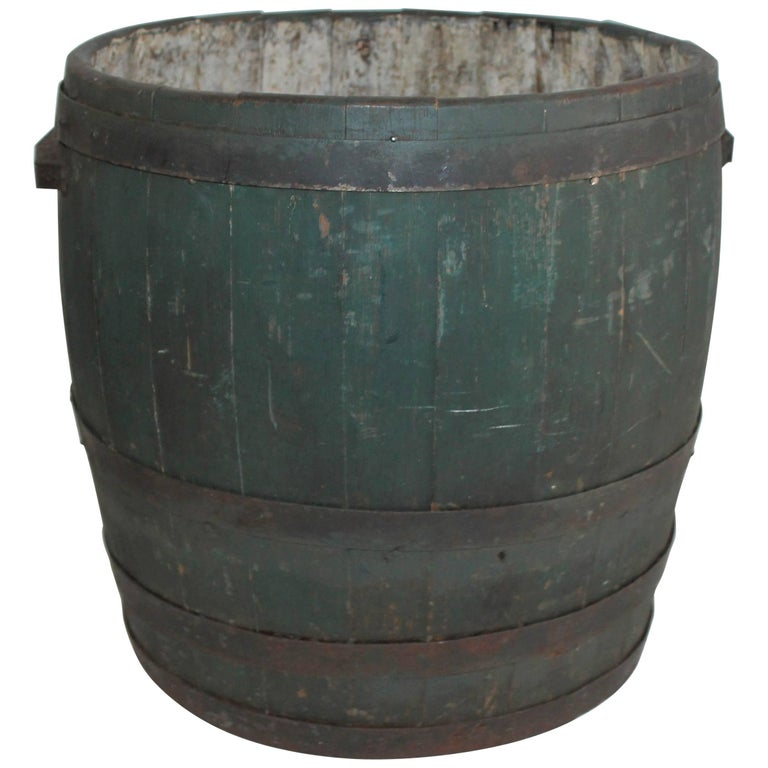 19th Century Original Green Painted Farm Barrel with Iron Handles For Sale