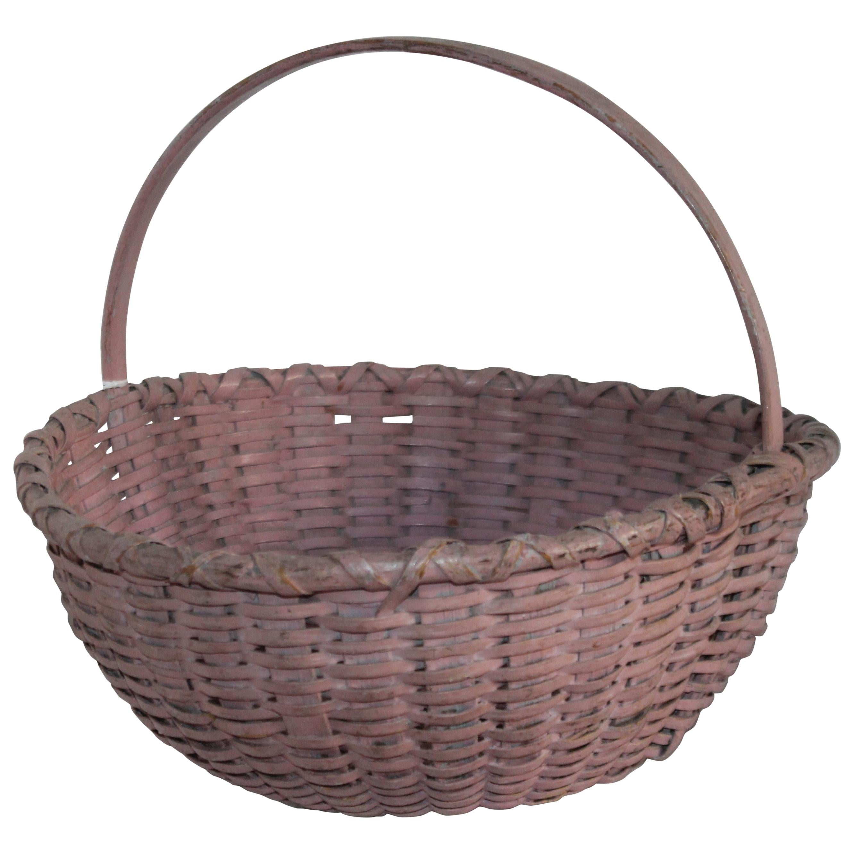 19th Century Original Mauve Painted Basket