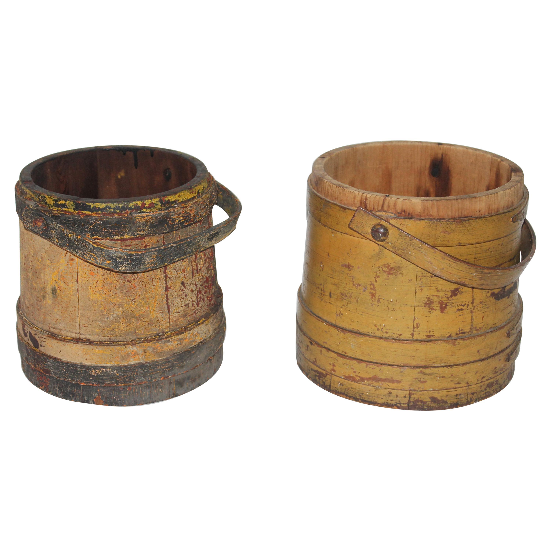 19th Century Original Mustard Painted Furkins / Buckets, Pair