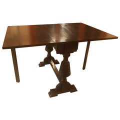 19th Century Original Oak Strip Table, Beautiful as a Console Table, Dark Color