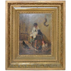 19th Century Original Oil Painting, Boy with Roosters, circa 1890