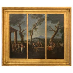 19th Century Original Oil Painting in a 3 Section Giltwood Frame