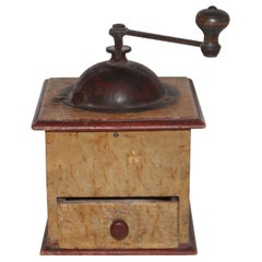 19th Century Original Painted Coffee Grinder