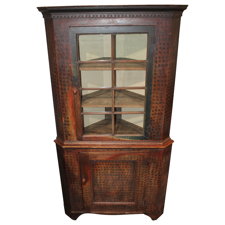 19th Century Original Painted Corner Cupboard from Pennsylvania, 2 Pieces