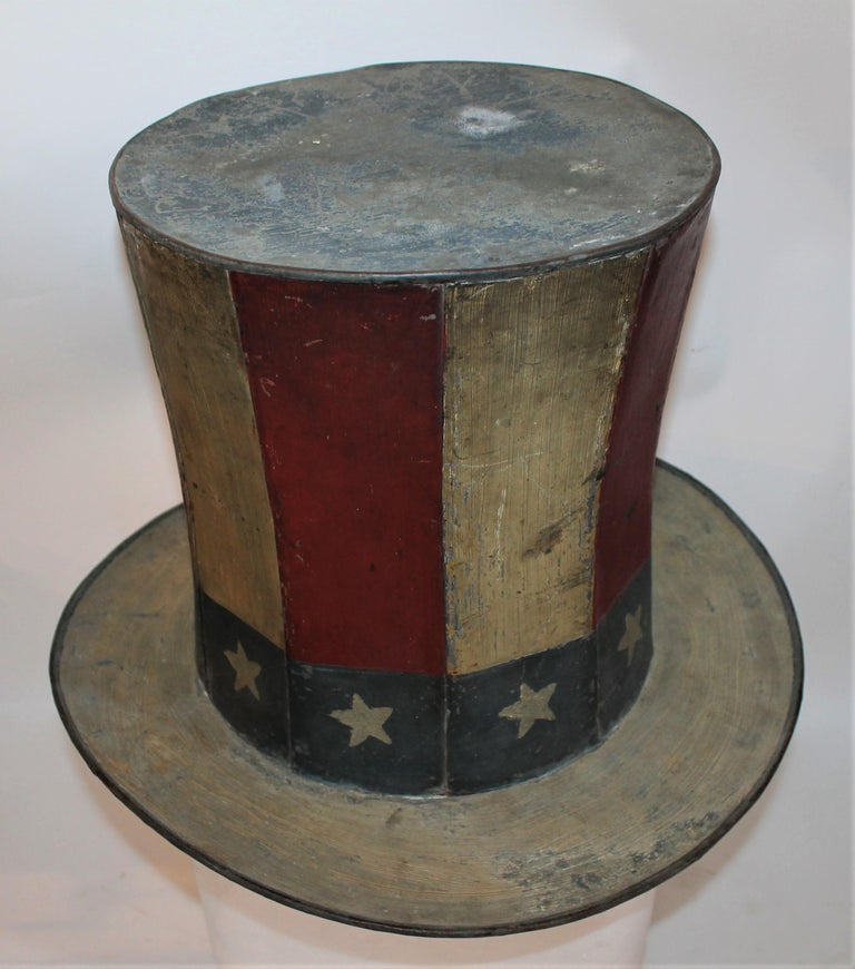 Country 19th Century Original Painted Tin Large Trade Sign/Hat For Sale