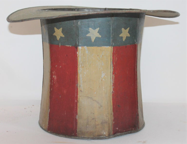 American 19th Century Original Painted Tin Large Trade Sign / Hat For Sale