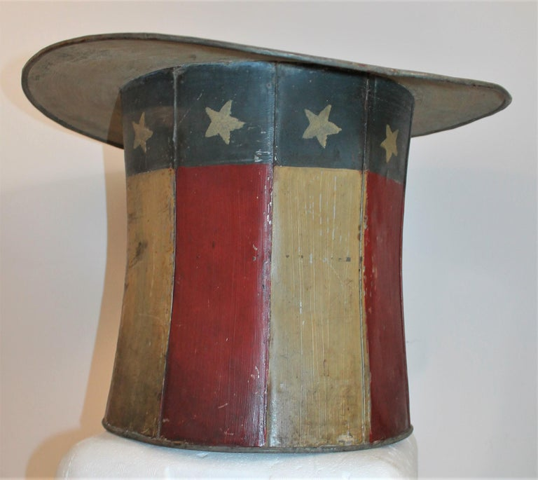 American 19th Century Original Painted Tin Large Trade Sign/Hat For Sale