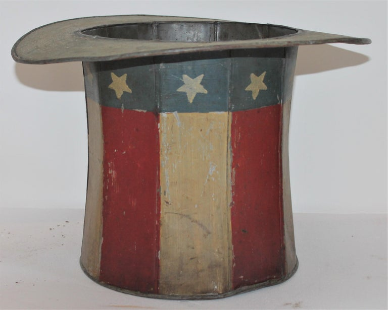 Hand-Crafted 19th Century Original Painted Tin Large Trade Sign / Hat For Sale