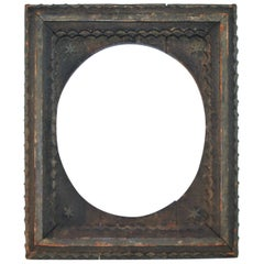 19th Century Original Painted Tramp Art Frame with Stars