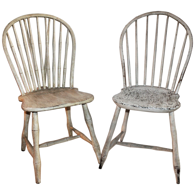 19th Century Original Painted Windsor Chairs, Pair