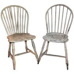 19th Century Original Painted Windsor Chairs, Pair