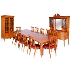 19th Century Original Rare British Dinning Room Set with 12 Chairs, Satin Wood
