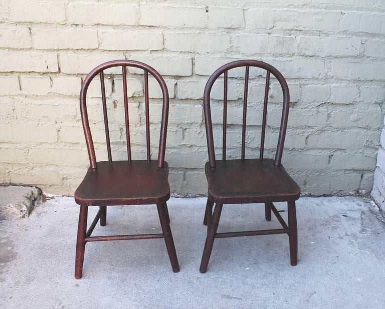 American 19th Century Original Red Painted Children's Table and Collection of Four Chairs For Sale