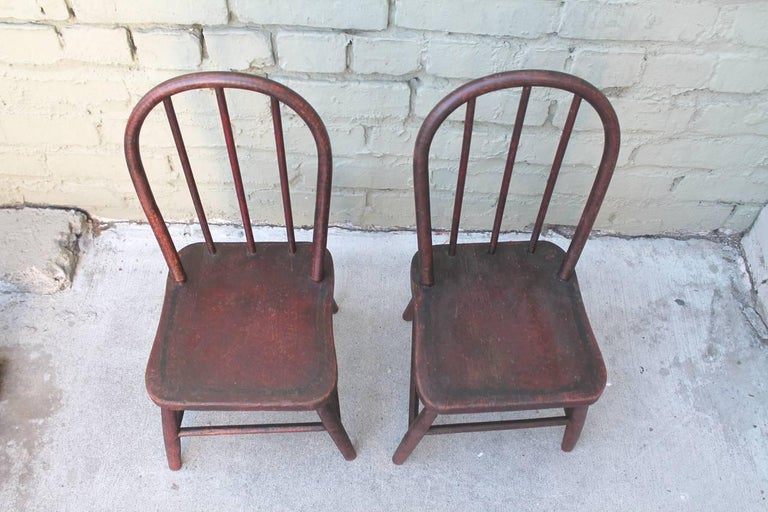 Hand-Painted 19th Century Original Red Painted Children's Table and Collection of Four Chairs For Sale