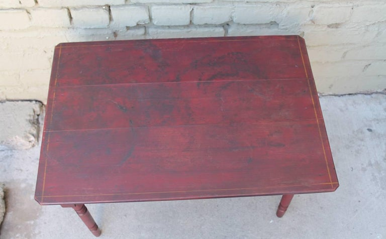19th Century Original Red Painted Children's Table and Collection of Four Chairs For Sale 2