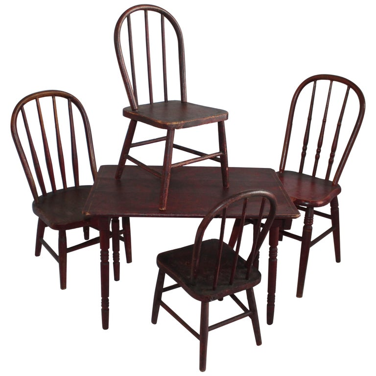 19th Century Original Red Painted Children's Table and Collection of Four Chairs For Sale